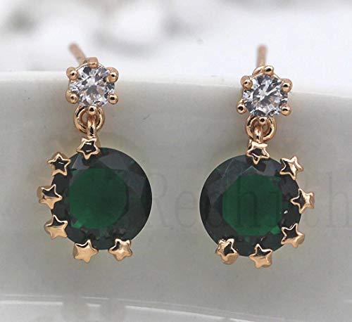 Aumsin 18K Gold Filled Earrings Emeral Zircon Star Big Gemstone Ear Stud Drop Wedding