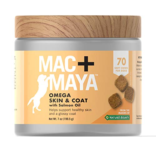 Mac + Maya Omega Skin & Coat with Salmon Oil for Dogs, Support for Healthy, Moisturized Skin and a Glossy Coat for Dogs, 70 Soft Chews