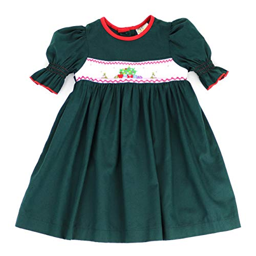 sissymini - Winter Wonderland Embroidered Christmas Hand Smocked Dress for Toddlers (Teal Christmas Tree, 2T)