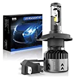 SEALIGHT H4/9003 LED Motorcycle Headlight Bulbs HB2 High Low Beam Headlamps with Fan 6000K Xenon White