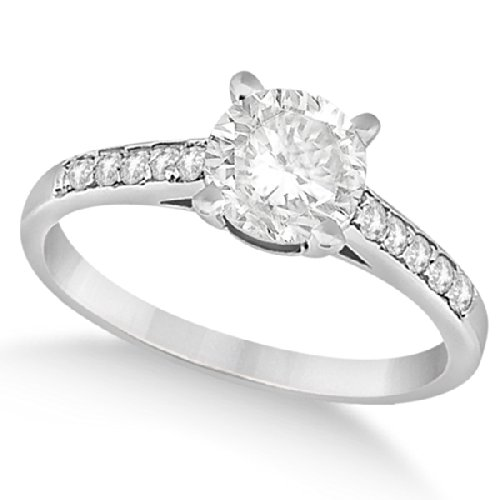 Cathedral Style Round Diamond Engagement Ring 14k White Gold (0.75ct) 3/4 Carat Round Cut Cathedral