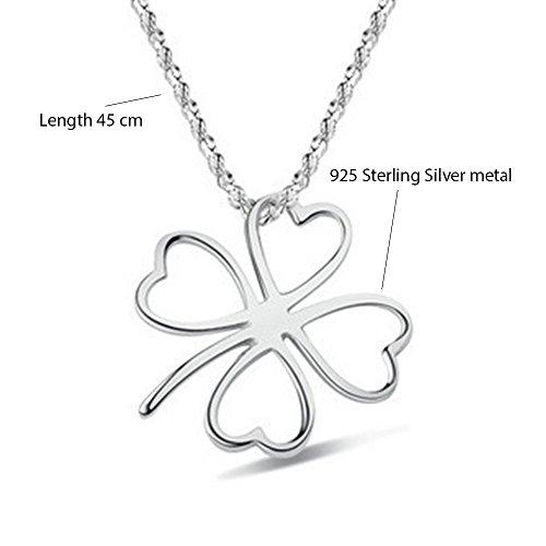 MESE London Collier Trèflle 925 Sterling En Argent Pendentif Chanceux - Coffret Cadeau Élégant