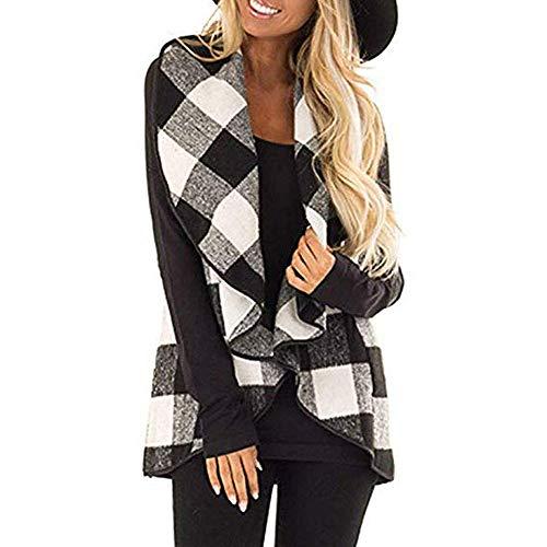 Dressin Womens Sleeveless Open Front Hem Plaid Vest Cardigan Jacket with Pockets