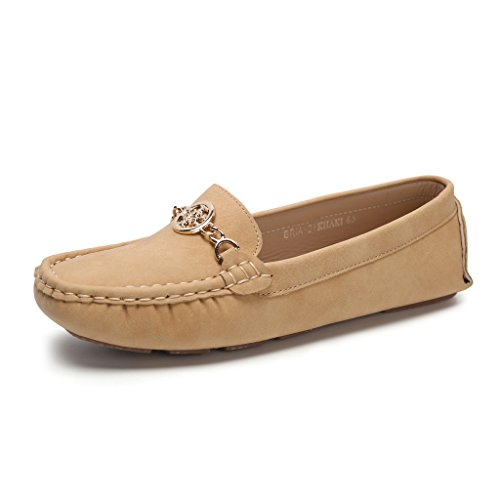 Hawkwell Women's Comfort Slip-on Loafer Driving Shoes,Tan PU,8 B(M) US