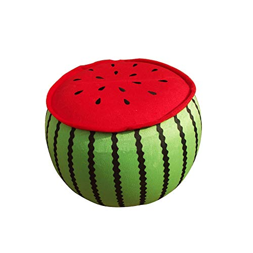 (Wgg Fruit Cartoon Plush Inflatable Stools Folding Stool Sofa Home Children's Cushion (Watermelon))