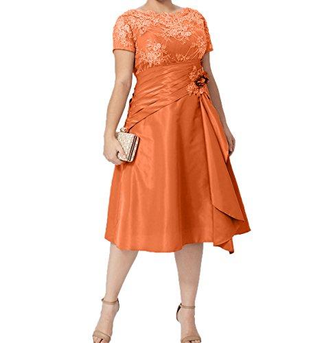 Damen Charmant Knielang Ballkleider Orange Kurzarm Kurzes mit Formalkleider Abendkleider Brautmutterkleider Festlichkleider Bwfdgxwq