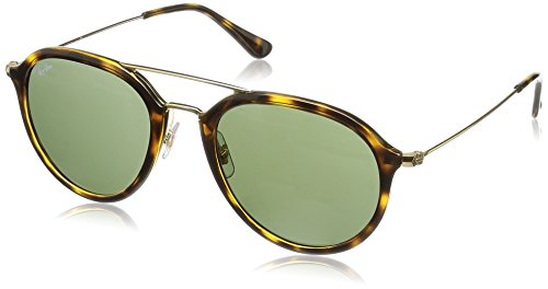 Ray-Ban RB4253 Square Sunglasses, Light Tortoise/Green, 53 mm