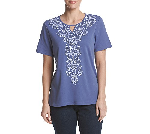 Alfred Dunner Womens Shell (Alfred Dunner Petites' Seahorse And Shell Embroidery Top Petite)