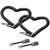 Telephone Cord Detangler,LOVK 2 Pack 13Ft Uncoiled / 2Ft Coiled Telephone Handset Cord with 2 Pack 360 Degree Rotating Landline Cable Detangler Swivel Cord Untangler Telephone Accessory