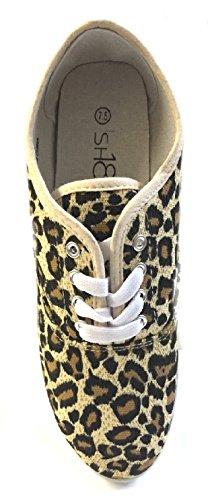 Schoenen Klassiek Klassiek Canvas Veterschoenen Voor Dames 18 Schoenen Leopard 525