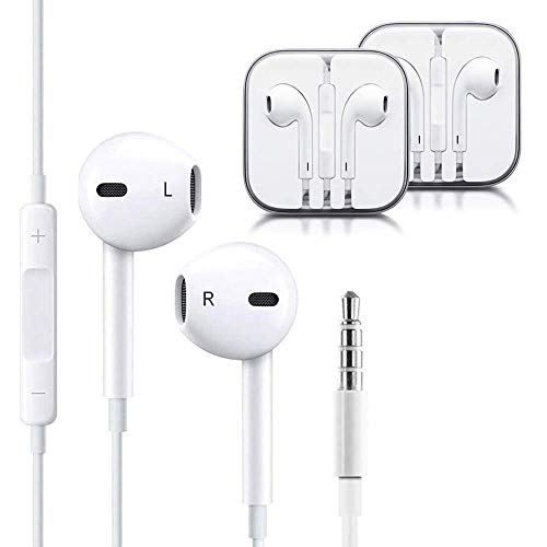 littlejian 2pack 3.5mm Earbuds/Earphones/Headphones,Premium in-Ear Wired Earphones with Remote & Mic Compatible Apple iPhone 6s/plus/6/5s/se/5c/iPad (White)