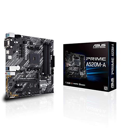 Asus PRIME A520M-A AMD A520 (Ryzen AM4) Micro ATX moederbord 4x DIMM tot 128GB M.2 slot, 1GB Ethernet, HDMI/DVI/D-Sub…
