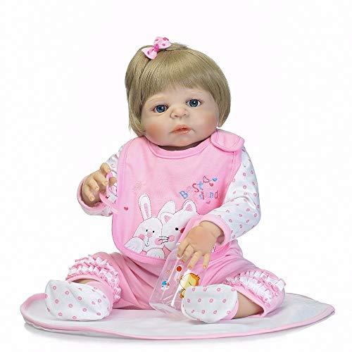 Wig Doll Blonde Baby - Reborn Dolls, NPK 55cm Full Silicone Reborn Baby Doll Lifelike Toddler Bebe Doll Blond Hair Reborn Baby Brinquedos Toys for Kids Gifts Bonecas