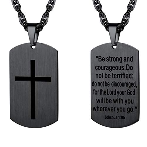 Dog Cross Tag Pendant - PROSTEEL Cross Jewelry,Mens or Womens Necklaces Pendants,Military Dog Tag,Dogtag,Be Strong and Courageous,Inspirational Necklace,Stainless Steel Chain