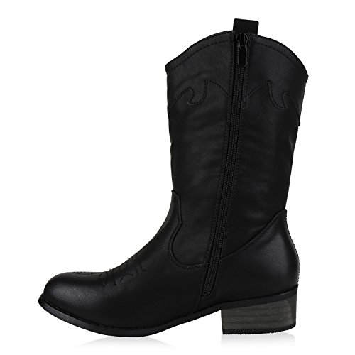 Modische Damen Stiefel Cowboy Boots Leder-Optik Cowboystiefel Block Absatz Stiefeletten Freizeit Schuhe Basic Flandell Schwarz Stickereien
