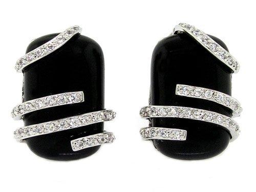 Alluring Contrast! Earrings w/Black Onyx & White CZs