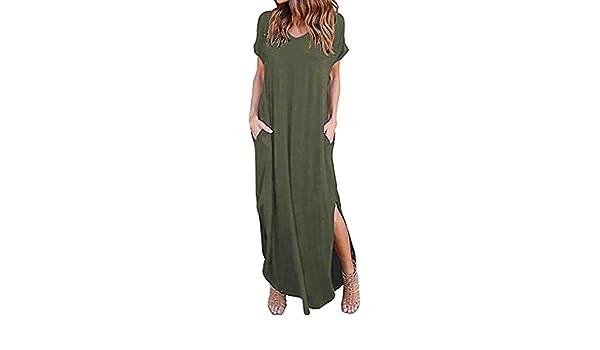 5d7f33019b Amazon.com  Teresamoon Women s Casual Pocket Beach Long Dress Short Sleeve  Split Loose Maxi Dress  Arts