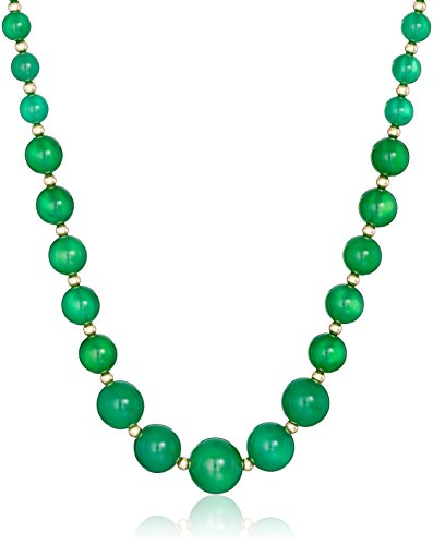 Gold-Filled Beads Graduated 6-12mm Green Onyx Necklace, 18""