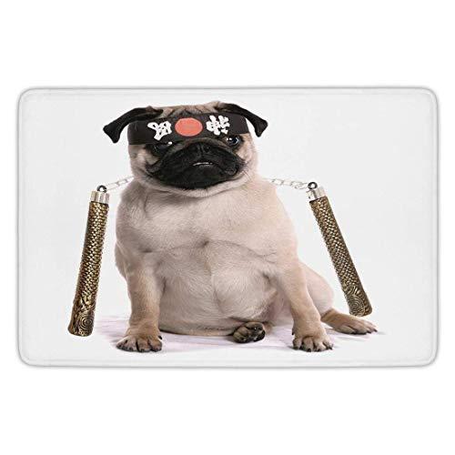 NEWPAI Doormat Pug,Ninja Puppy with Nunchuk Karate Dog Eastern Warrior Inspired Costume Pug Image Decorative,Cream Black Gold,Flannel Microfiber Non-Slip Soft Absorbent 24 x 16 Inch (Doormat Costume)