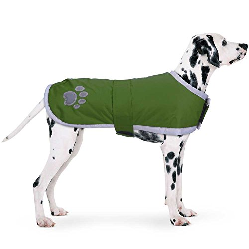 PETBABA Dog Winter Jacket, Fleece Puffer Coat Warm Pet, Waterproof Reversible Parka Apparel Suitable Snow Cold Weather Christmas Holiday, Reflective Vest Safe at Night Walk - L in Green