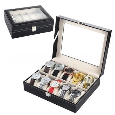 Marketworldcup-10 Slot Watch Box Leather Display Case Organizer Top Glass Jewelry Storage Black