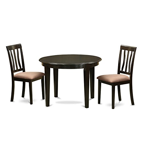 East West Furniture BOAN3-CAP-C 3 Piece Small Round Table and 2 Kitchen Chairs Set