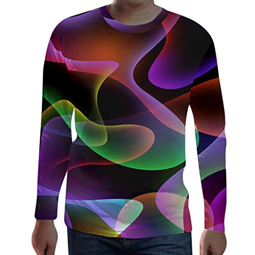 Men Funny 3D Print T Shirt Round Neck Long Sleeve Tops Casual Daily Blouse]()