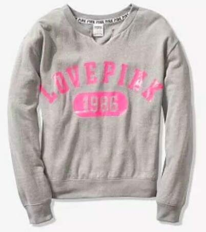 SOLD OUT - VICTORIA SECRET - PINK - SIZE LARGE. PERFECT PINK AND GREY SLOUCHY CREW CUTOUT SWEATSHIRT - WARM MATERIAL - FLEECE (Victorias Secret Slouchy Crew)
