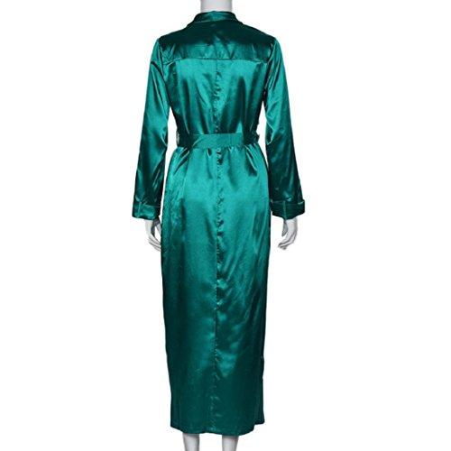 Tongshi Para mujer atractivo de la manga larga ocasional escote en V sólida capa larga Verde