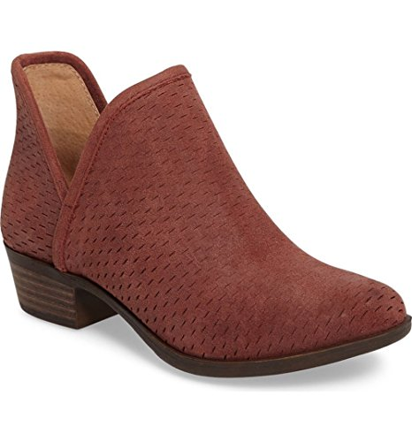 Womens Lucky Brand BASHINA Perforated Bootie Beet Leather 9ljCH23
