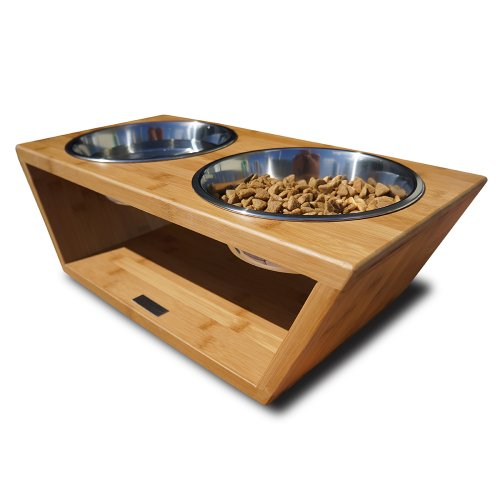 Pet Lounge Studios Bambu Angled Diner Natural Carbonized 2QUART/LARGE by Be & D