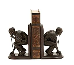 Deco 79 Polystone Golf Bookend Pair, 5 by 8-Inch, Mahogany Brown