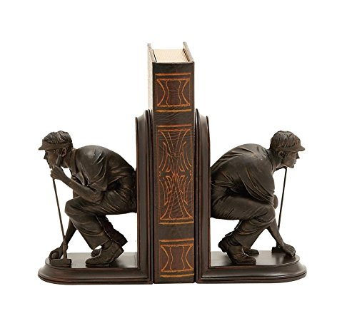 Deco 79 Polystone Golf Bookend Pair, 5 by 8-Inch, Mahogany Brown (Bookends Decor)