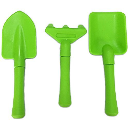 Kids Children Garden Tool Set include Small Shovel Rake and Trowel, Plastic Gardening Tools For Kids , Toddler Garden Toys (Green) (Tools Plastic Toy)