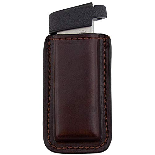 Relentless Tactical Leather Magazine Holder | Made in USA | Sizes to fit virtually Any 9mm.40.45 or .380 Pistol Mag | Single or Double Stack | IWB or OWB Single Stack Brown