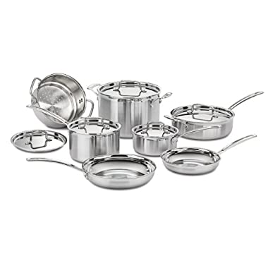 Cuisinart MCP-12 MultiClad Pro Cookware Set 12pc, Brushed Stainless