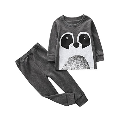 Little Girls Boys Kids Cartoon Outfits Clothes,2Pcs T-shirt Tops+Pants Set (3Years, Gray #2) ()