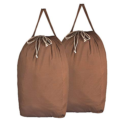 MCleanPin Washable Cotton Laundry Bags with Handles,Dirty Clothes Storage for College Dorm or Travel, Laundry Liner Fit Laundry Hamper or Basket,2 Pack,Brown (Brown)