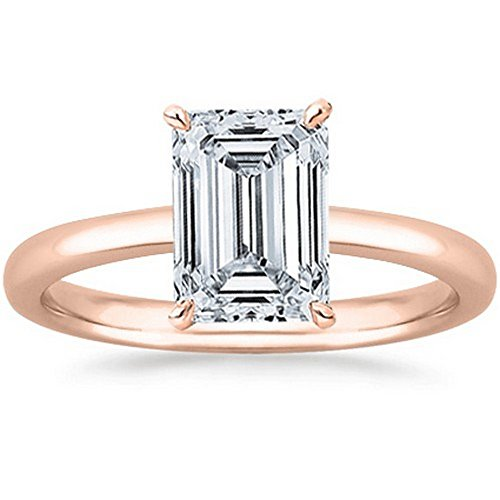 GIA Certified 14K Rose Gold Emerald Cut Solitaire Diamond Engagement Ring (0.7 Carat E Color VVS1 (Vvs1 Emerald Cut Diamond)