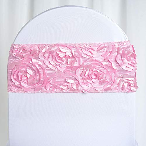 - BalsaCircle 10 Pink Satin Rosettes on Streachable Spandex Chair Sashes - Wedding Ceremony Reception Decorations Supplies