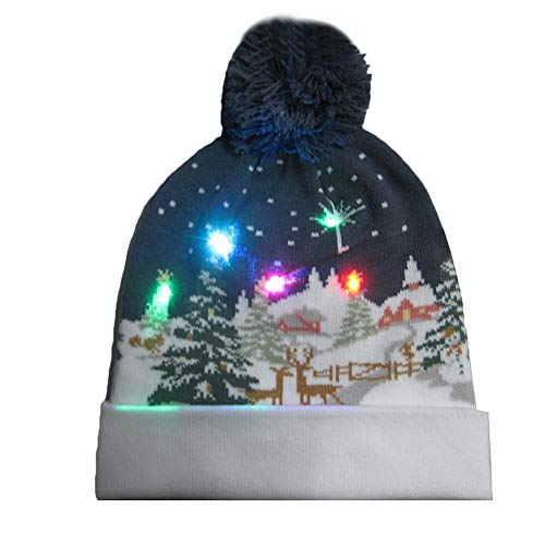 iShine LED Light Up Knitted Hat Christmas Colorful Lights Multi Pattern Knit Cap with Colorful Light Children Indoor Outdoor Best Gift Festival, Holiday, Celebration, Parties, Bar, Christmas