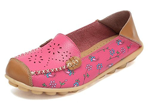 VenusCelia Women's Floral Comfort Walking Flat Loafer(8 M US,Pink-h)