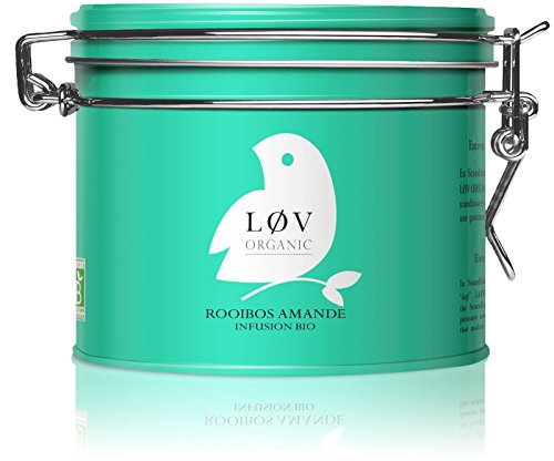 Løv Organic Almond Rooibos Tea - Organic Almond Blend Calming Caffeine-Free Tea (3.5oz Loose Tea Tin - 40 Servings)