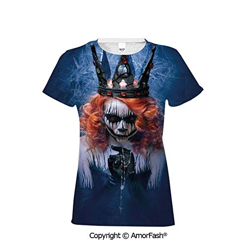 Distinctive Women's Premium Polyester T-Shirt,Queen,Queen of Death Scary Body Ar -