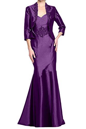 Langes mia Partylkleider Lila Brautmutterkleider Braut Dunkel Langarm Satin Festlich La Etuikleider mit Abendkleider Jaket aqcdTTwtO