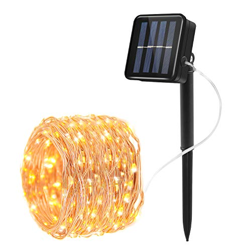 Prefer Green Solar String Lights 100 LED 33ft 8 Modes Copper Wire Lights Indoor/Outdoor Waterproof Decorative String Lights for Garden, Patio, Home, Yard, Party, Wedding, Christmas (Warm White)
