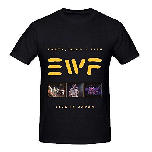 Earth, Wind Live In Japan 80s Mens O Neck Printed T Shirts Black