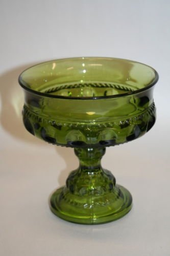 Glass Green Compote (Vintage Indiana Glass Kings Crown Thumbprint Green Glass Pedestal Compote Bowl)