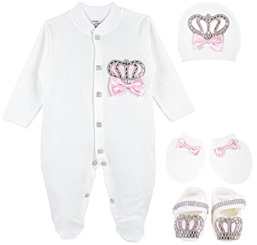 Lilax Baby Girl Jewels Crown Layette 4 Piece Gift Set 0-3 Months Pink