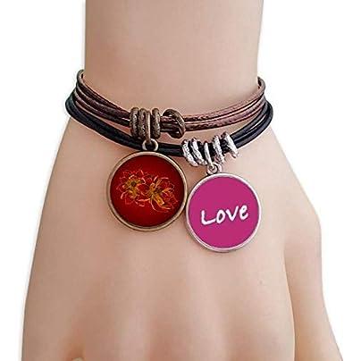 Red Lotus Flower Lotus Seed Flower Plant Love Bracelet Leather Rope Wristband Couple Set Estimated Price -